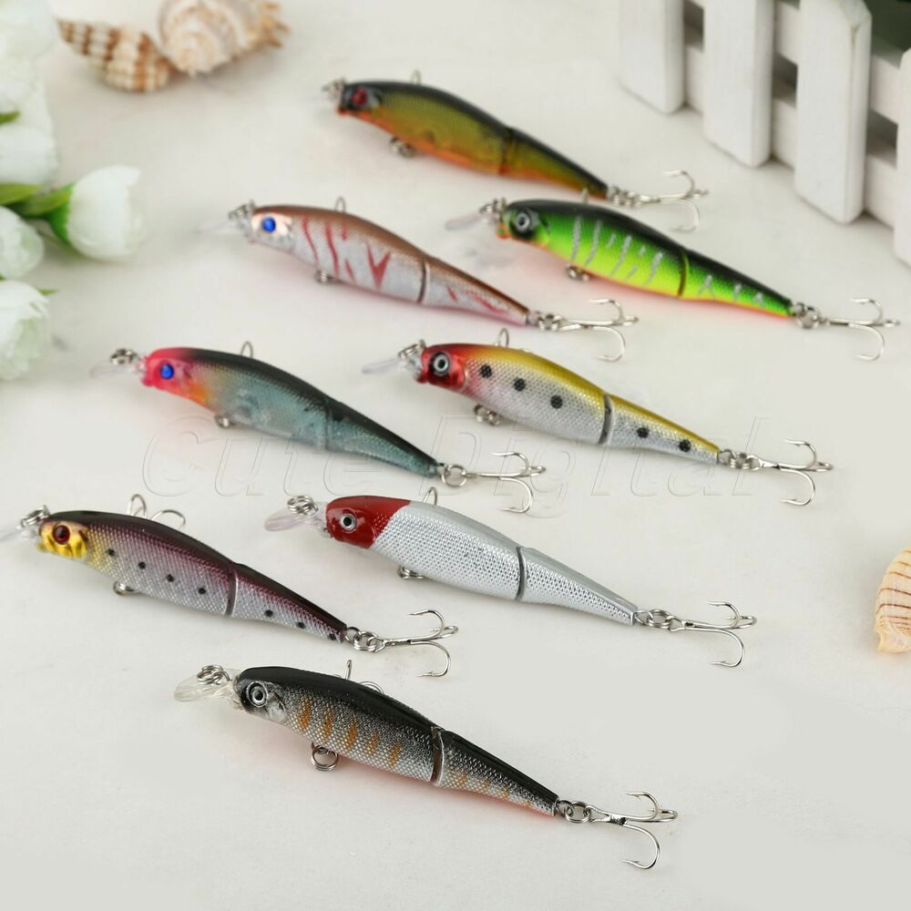8 jointed minnow fishing lure crank bait hooks bass for Fishing with minnows for bass