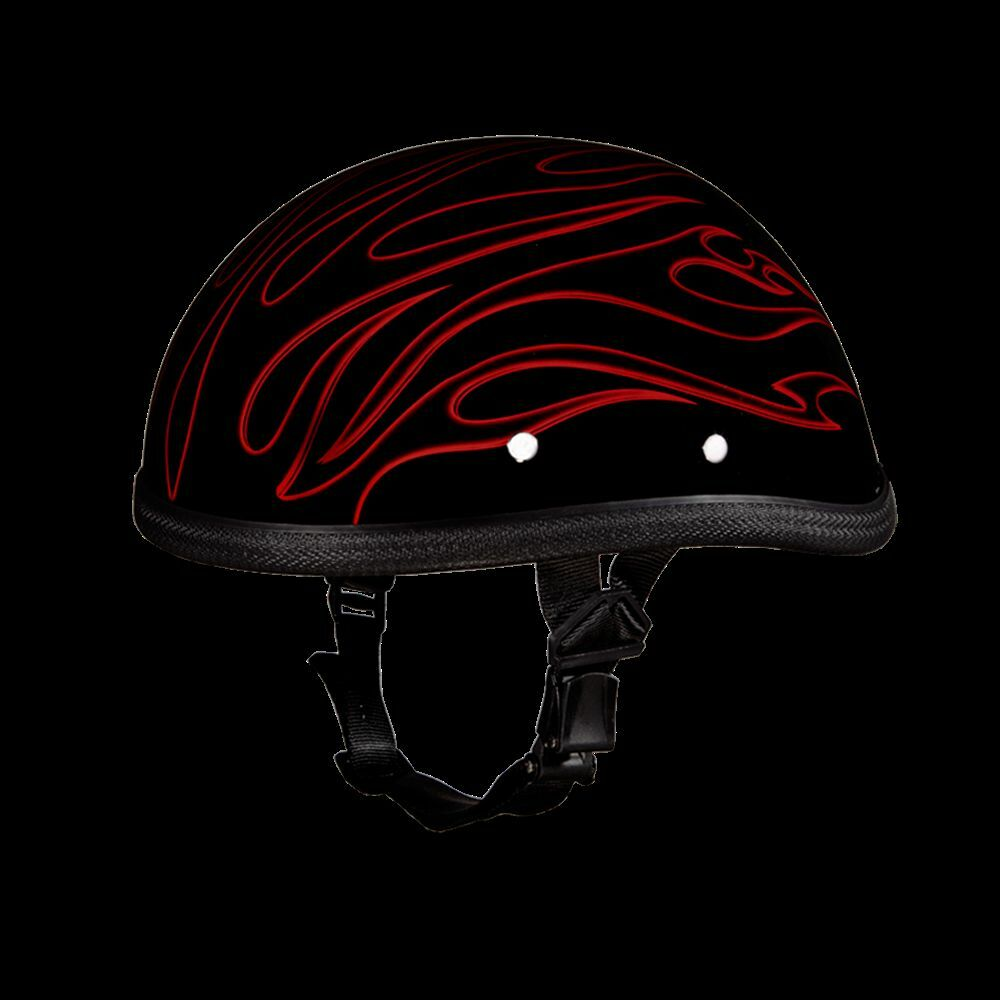 Motorcycle Helmets Dot >> DAYTONA EAGLE NON-DOT MOTORCYCLE HALF HELMET W/RED FLAMES-SMALL* | eBay