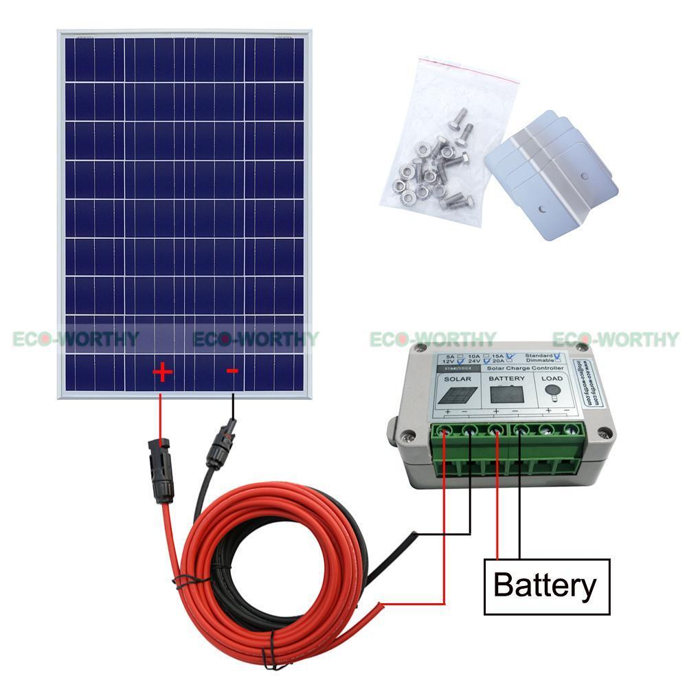 Rv Solar Battery Charger System : W complete kit poly pv solar panel for v system