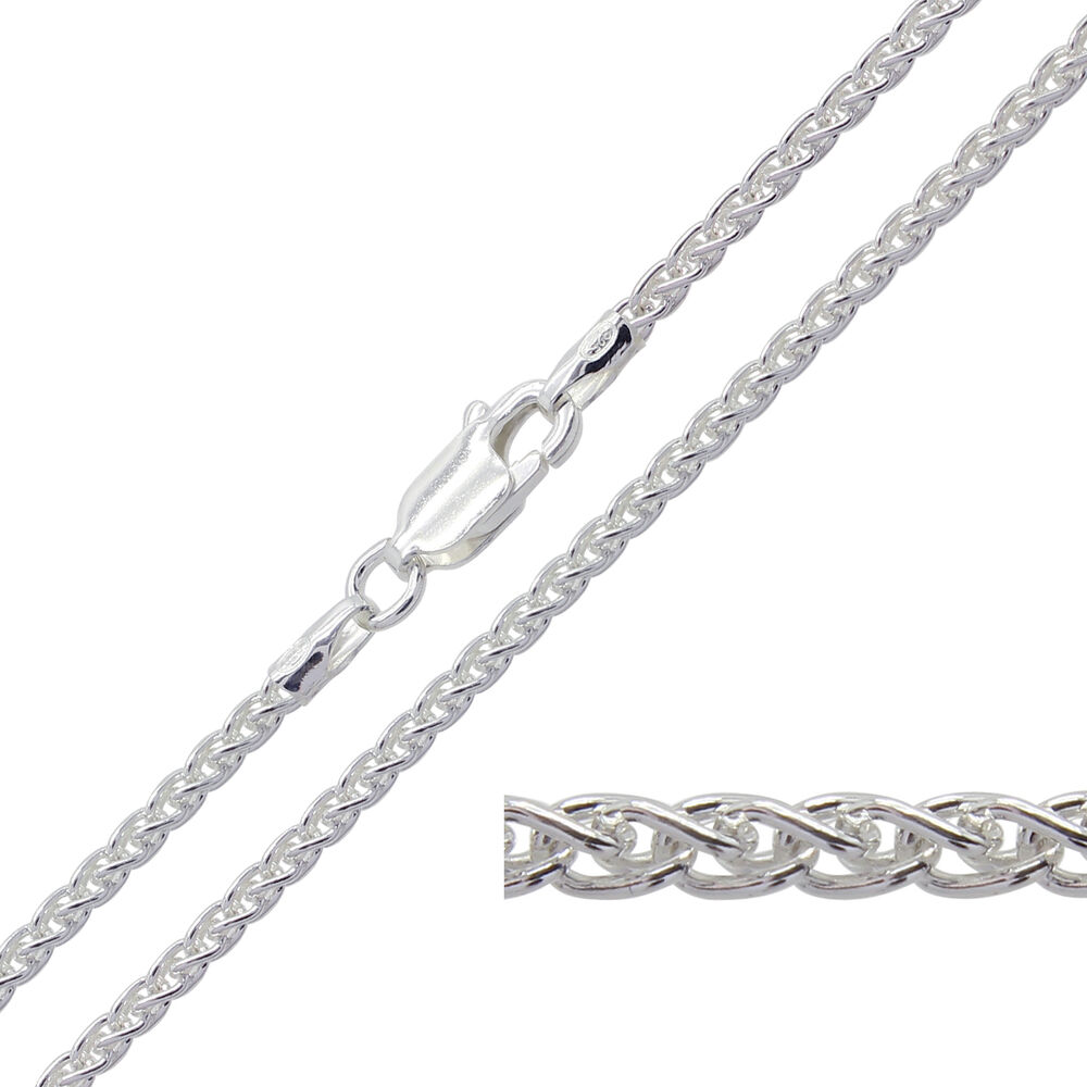 925 Sterling Silver Spiga Chain Necklace 14 16 18 20 22 24