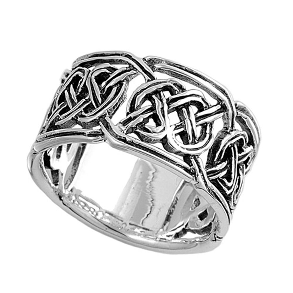 sterling silver men 39 s celtic knot ring 925 wide wedding. Black Bedroom Furniture Sets. Home Design Ideas