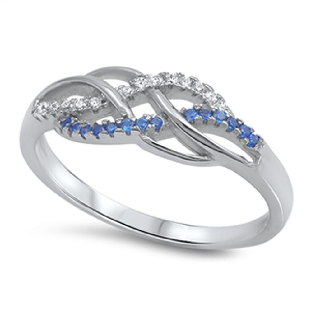 infinity knot blue sapphire cz promise ring 925 sterling