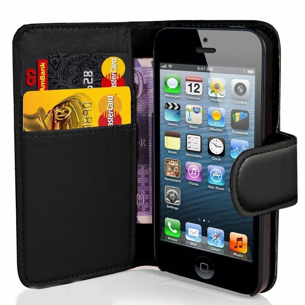 NEW BOOK WALLET LEATHER CASE COVER POUCH FOR APPLE IPHONE ...