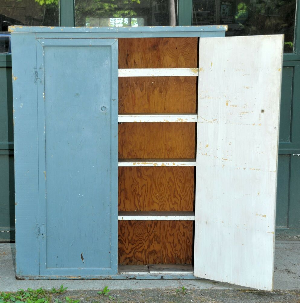 Antique Vintage Jelly Cabinet Cupboard 39x7x48 Blue Paint