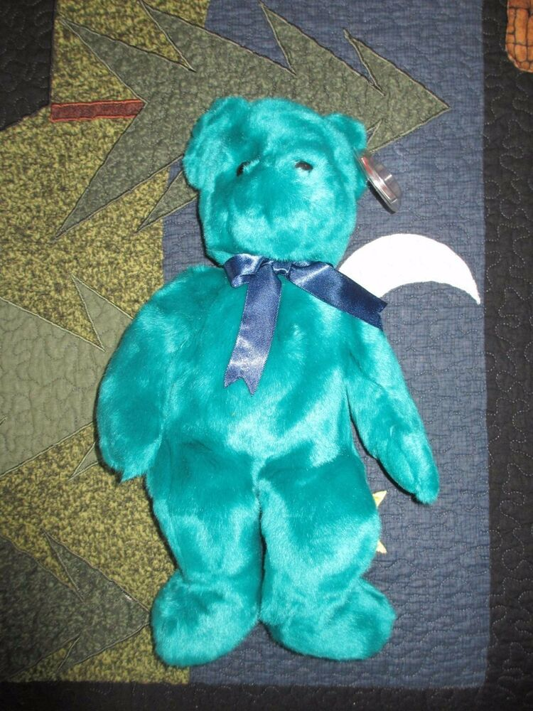 Retired Ty Old Face Teal Teddy Beanie Buddy Perfect