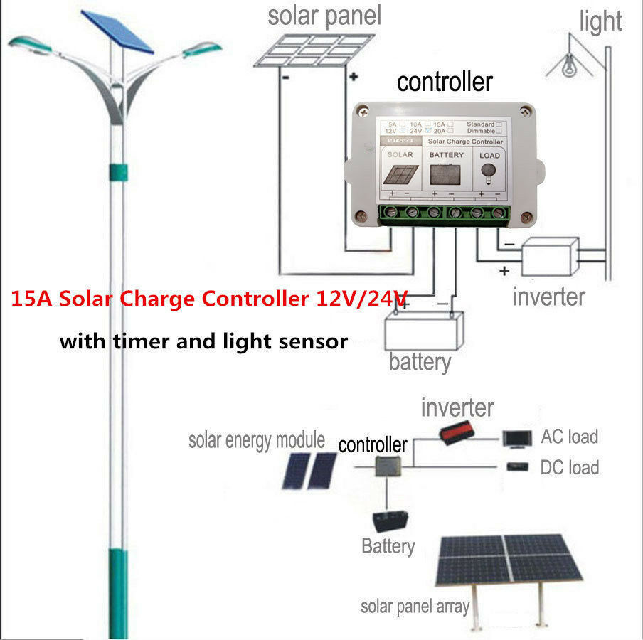 15a Solar Battery Charge Controller 12v 24v Regulator Pwm 20a Street Light Autoswitch Panel 270w 540w Ebay
