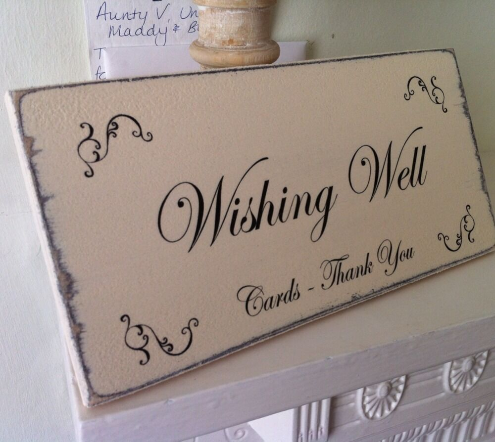 Plaque Chic Wishing Well Cards Thank You Shabby Wedding Sign