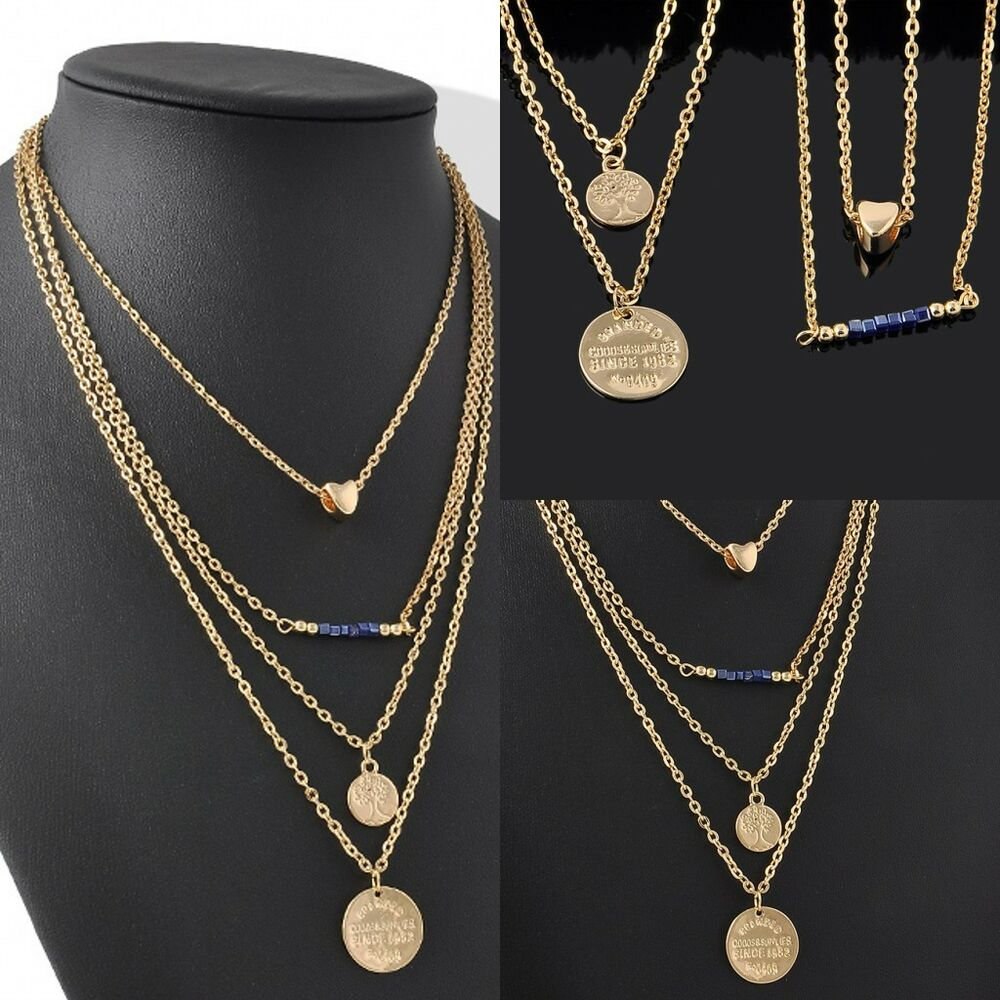 four layers gold chain double disc heart beads pendant. Black Bedroom Furniture Sets. Home Design Ideas