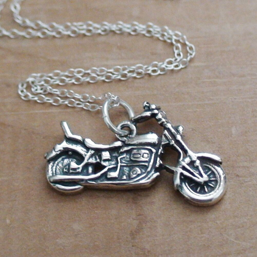 motorcycle necklace 925 sterling silver motorcycle