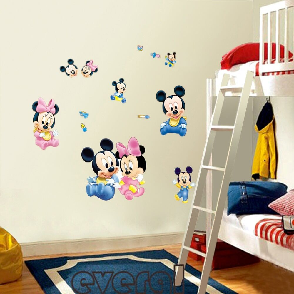 Commickey Mouse Kids Room : Mickey Mouse Minnie Vinyl Art Wall Stickers Decals Kids Nursery Home ...