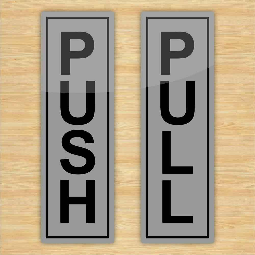Details about push pull door stickers silver vinyl