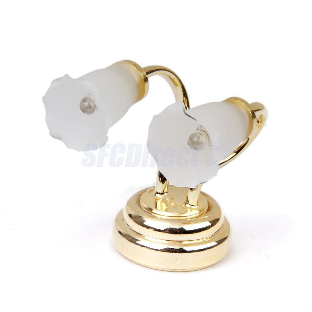 Led Wall Sconce Battery Powered Stone : Dollhouse Miniature LED DOUBLE LIGHT Lamp BRASS WALL SCONCE BATTERY Operated eBay