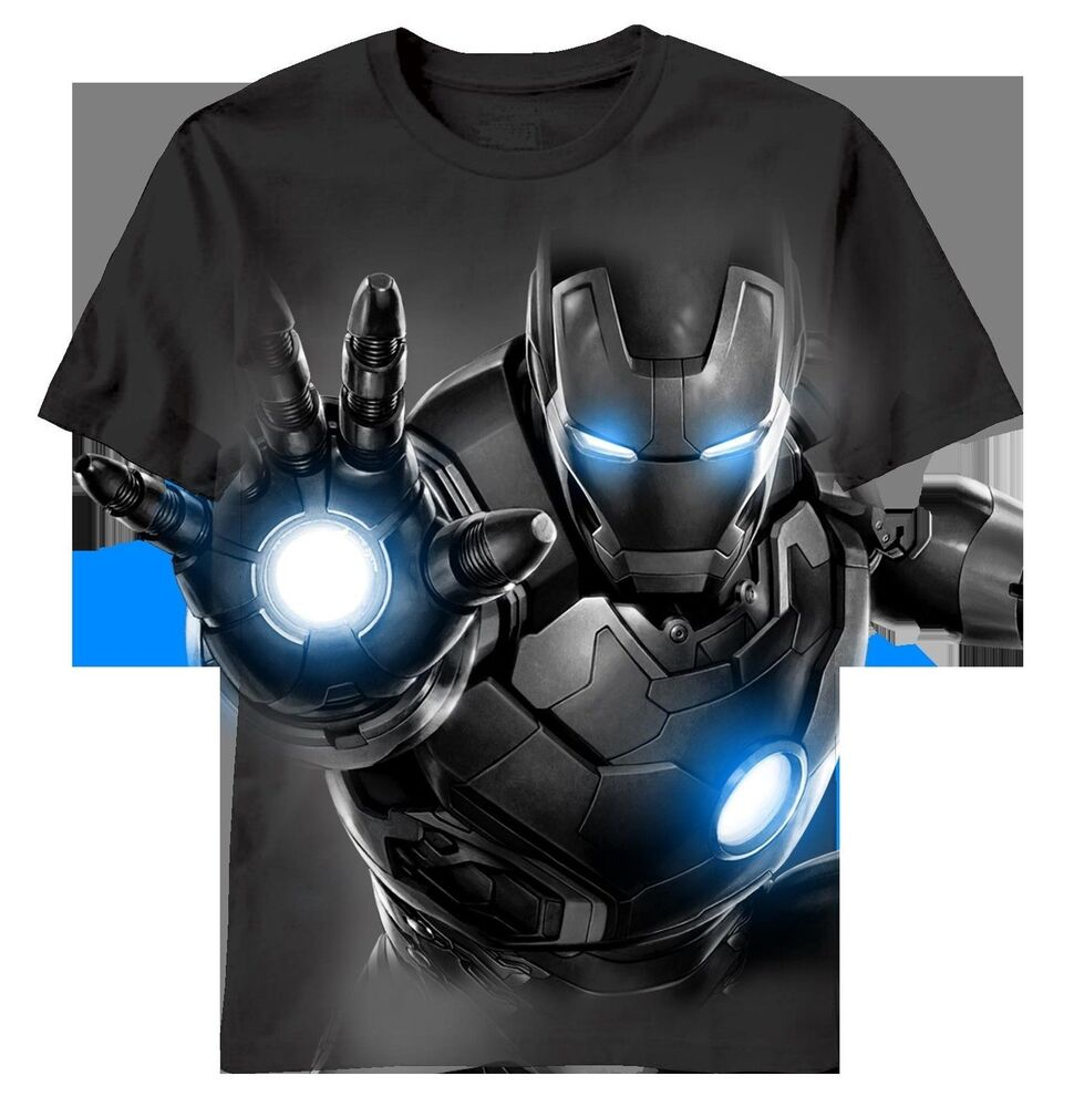 Iron man iron darkness t shirt ebay for Iron man shirt for men
