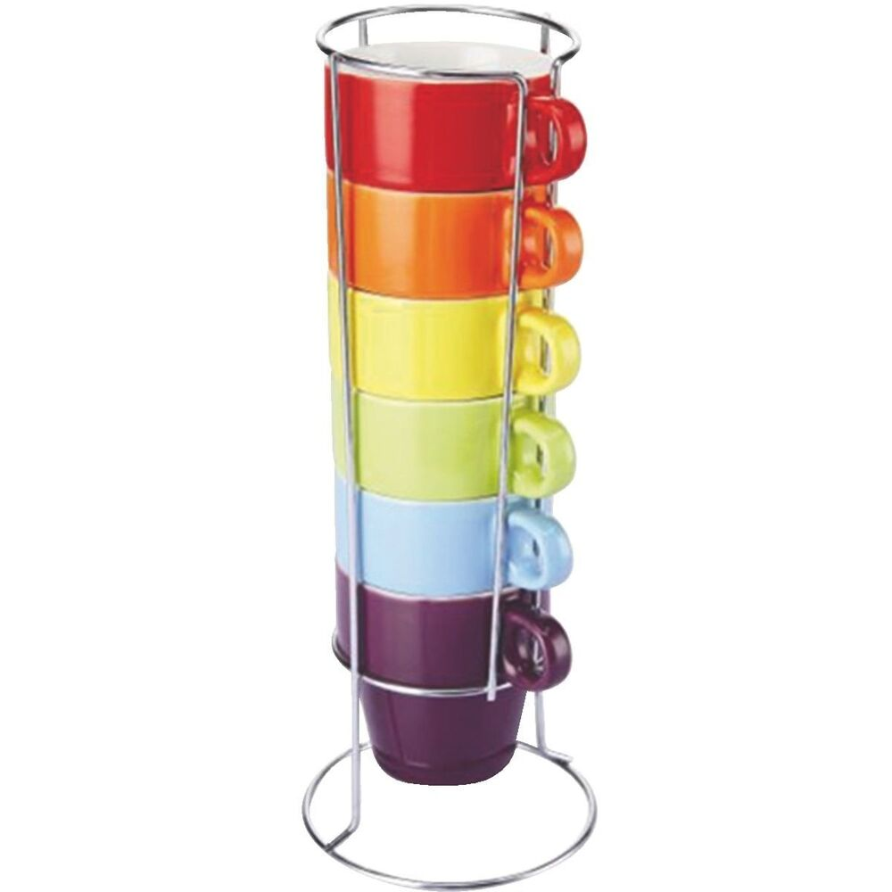 Colours 6 Piece Stacking Mug Set With Stand Cups Tea