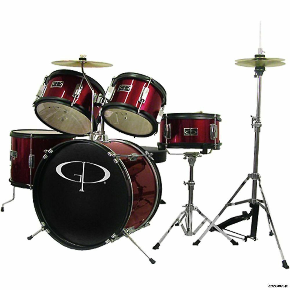 new gp percussion gp55wr 5 piece complete junior drum set for kids wine red ebay. Black Bedroom Furniture Sets. Home Design Ideas