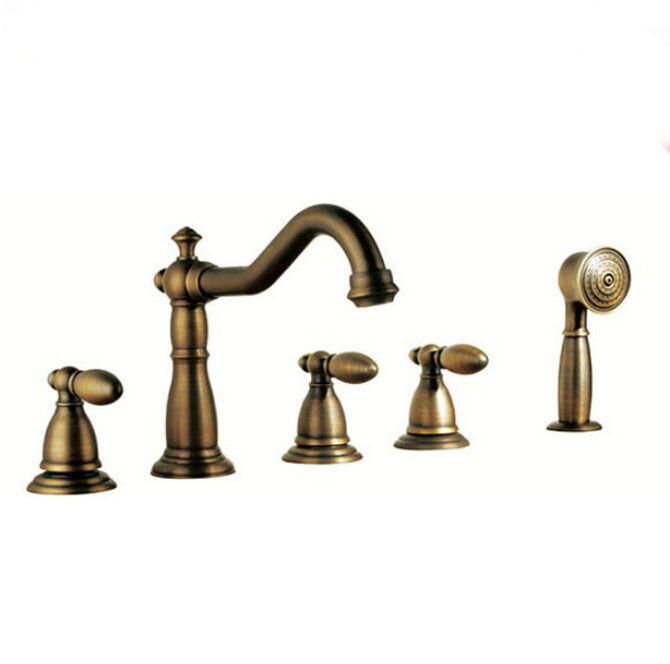Traditional widespread roman bath tub faucet with hand shower antique brass ebay Antique brass faucet bathroom