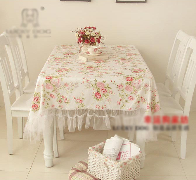 Shabby chic cottage farmhouse floral table cloth cover white with ruffles cotton ebay