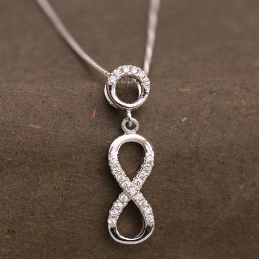 925 sterling silver cz detailed infinity knot pendant