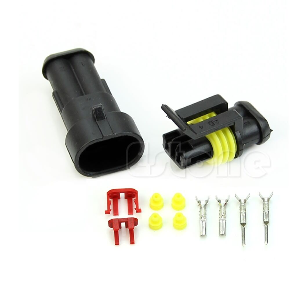 1 kit 2 pin way waterproof electrical wire connector plug car motorcyle truck ebay. Black Bedroom Furniture Sets. Home Design Ideas