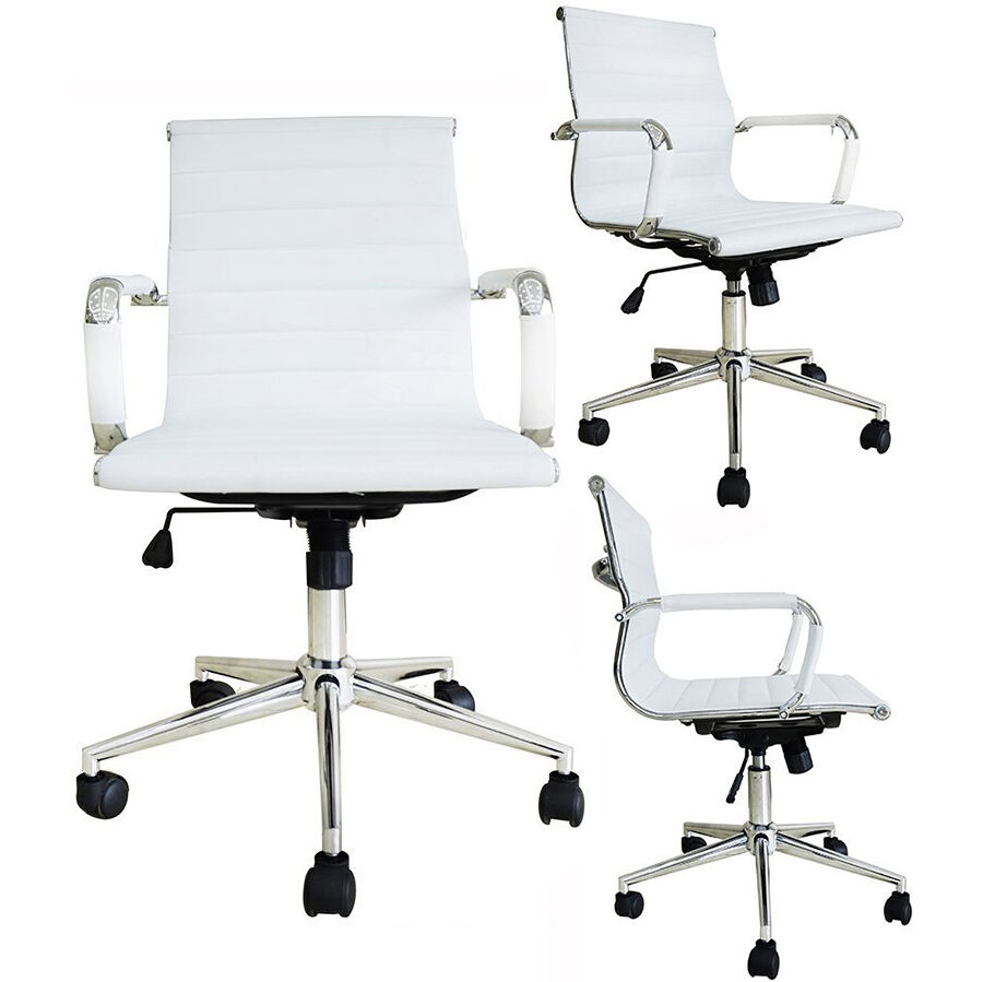 WHITE Modern Design Ribbed Low Mid Back PU Leather Office Chair Conference Ro