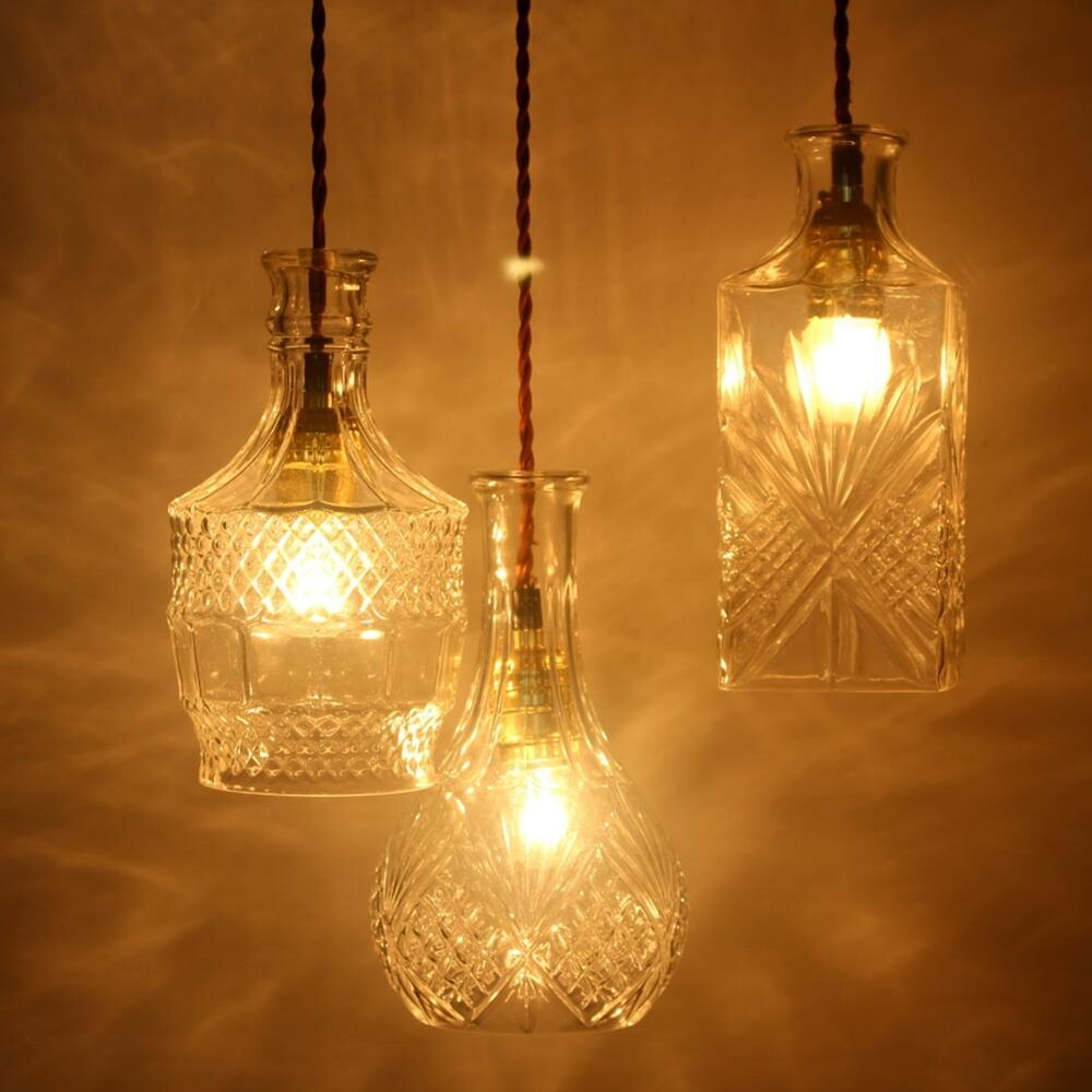 Diy pattern glass vintage retro decanter chandelier for Diy pendant light