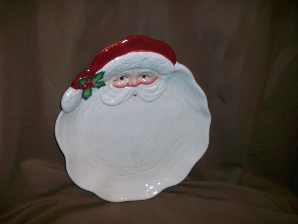 Vintage fitz floyd 1989 santa claus canape plate tidbit for Christmas canape plates