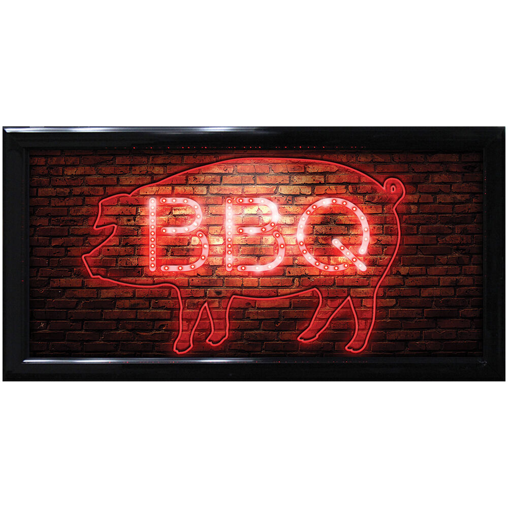 Light Up Kitchen Signs: NEW Blinking BBQ Barbecue Pig LED Sign