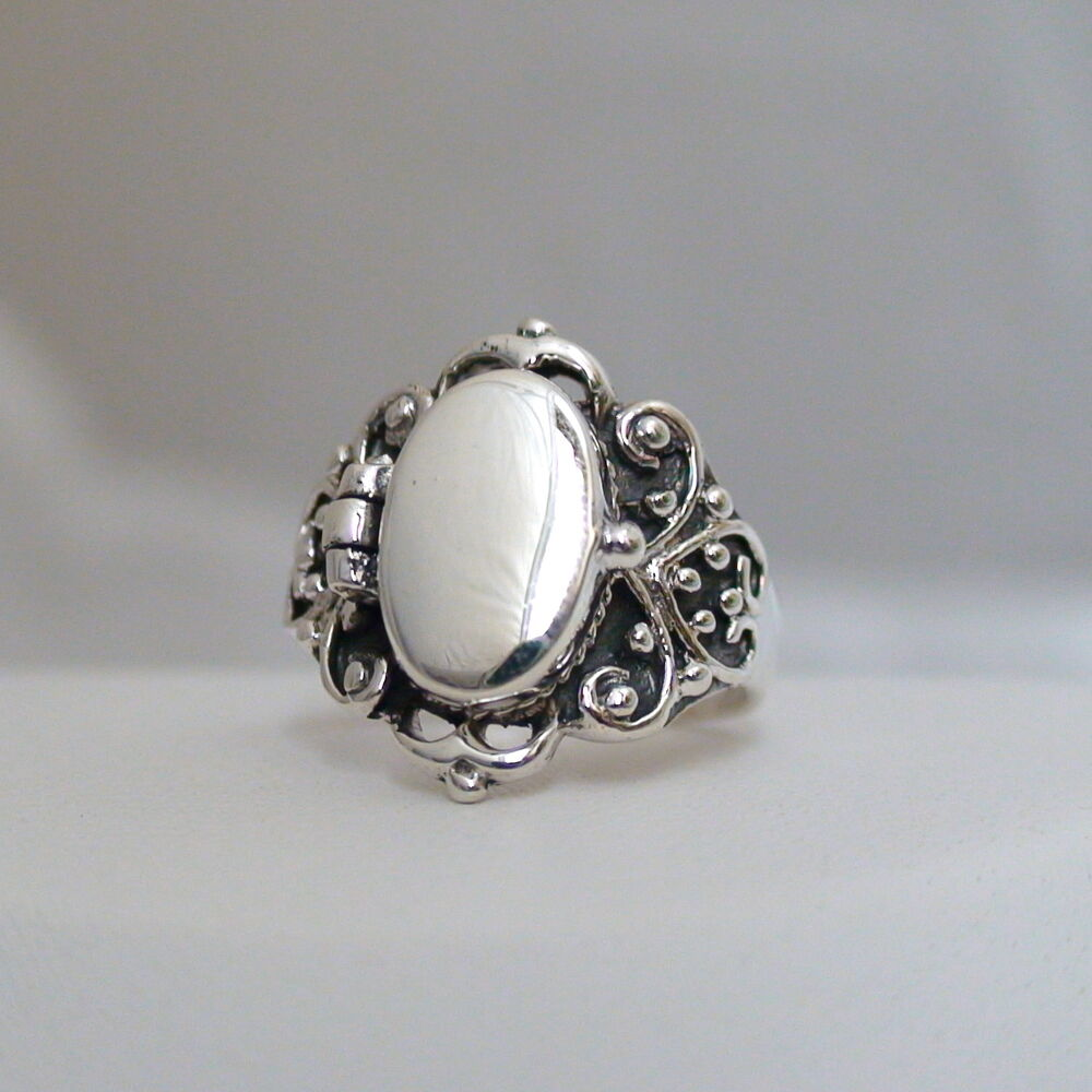 Victorian scroll poison ring 925 sterling silver for The sterling