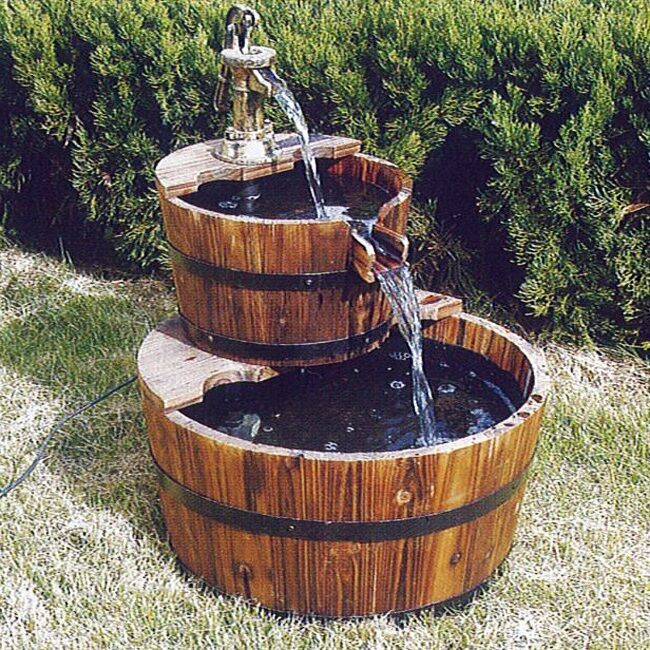 Outdoor Water Fountain Garden Wood Waterfall Feature Patio