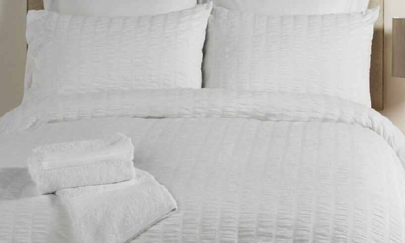 Seersucker White King Bed Size 300 Thread Count Egyptian