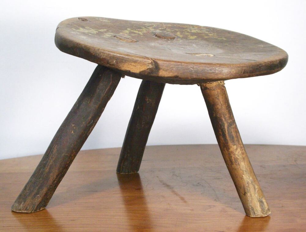 Antique 3 Legged Primitive Milk Stool Rustic Farm Wood