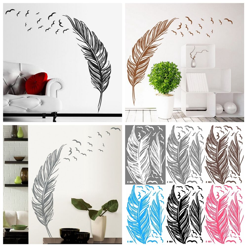 birds flying feather wall sticker vinyl removable home decal mural art decor diy ebay. Black Bedroom Furniture Sets. Home Design Ideas