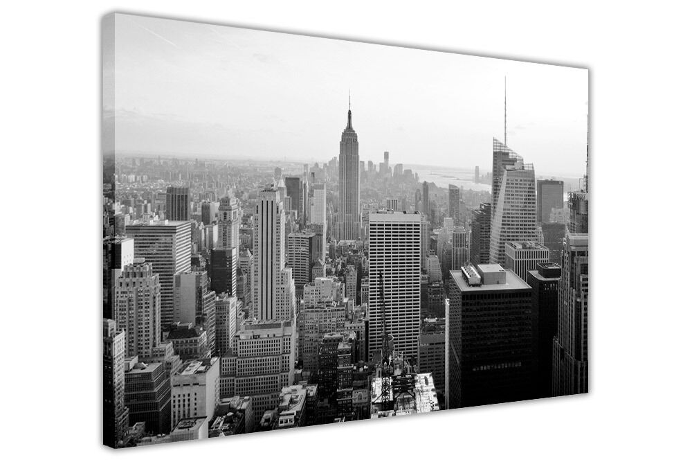 black and white new york city prints canvas wall art pictures home office photos ebay. Black Bedroom Furniture Sets. Home Design Ideas