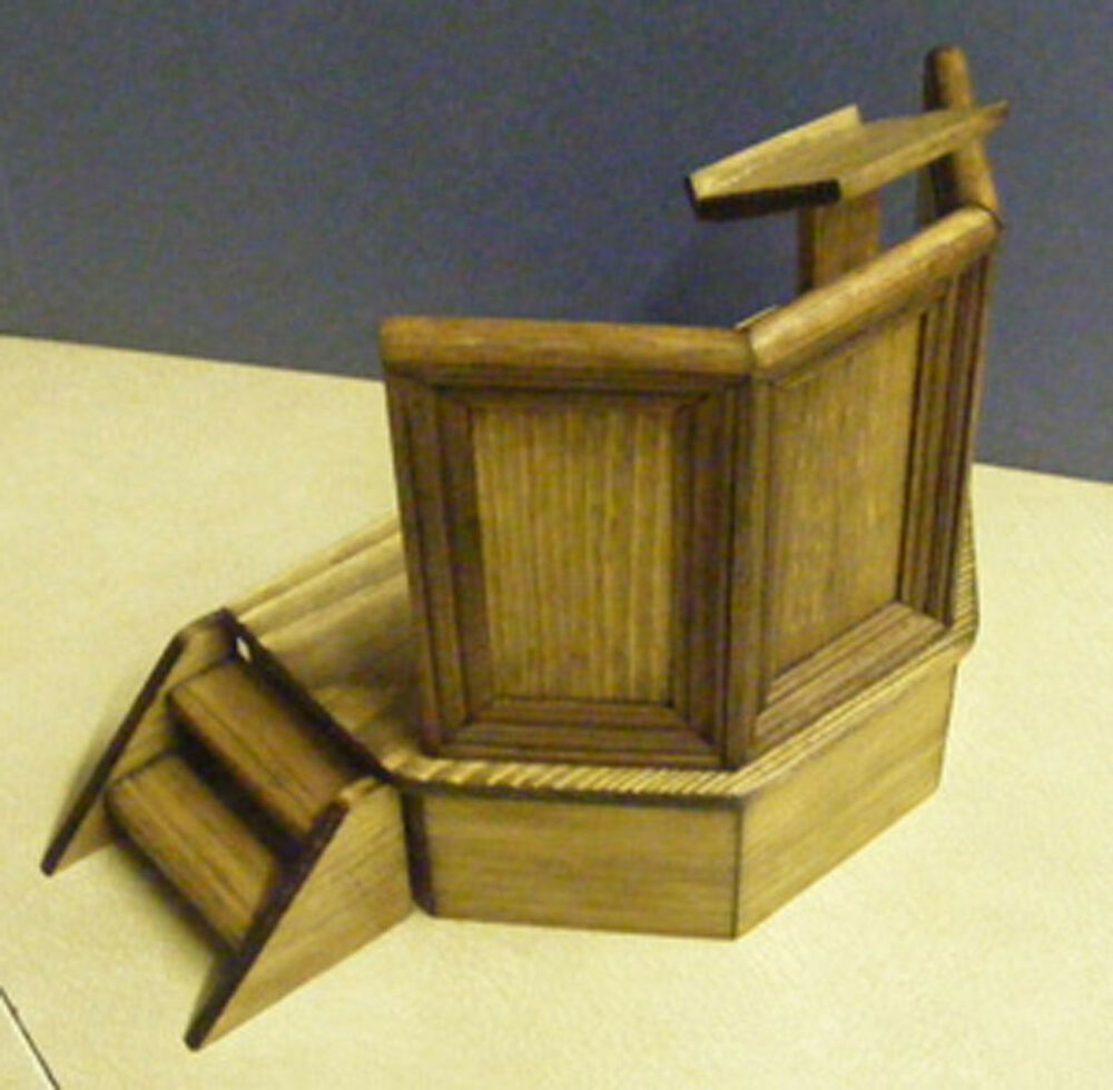 A 1 12 Scale Wooden Pulpit Dolls House Miniature Hand Made Church Furniture Ebay