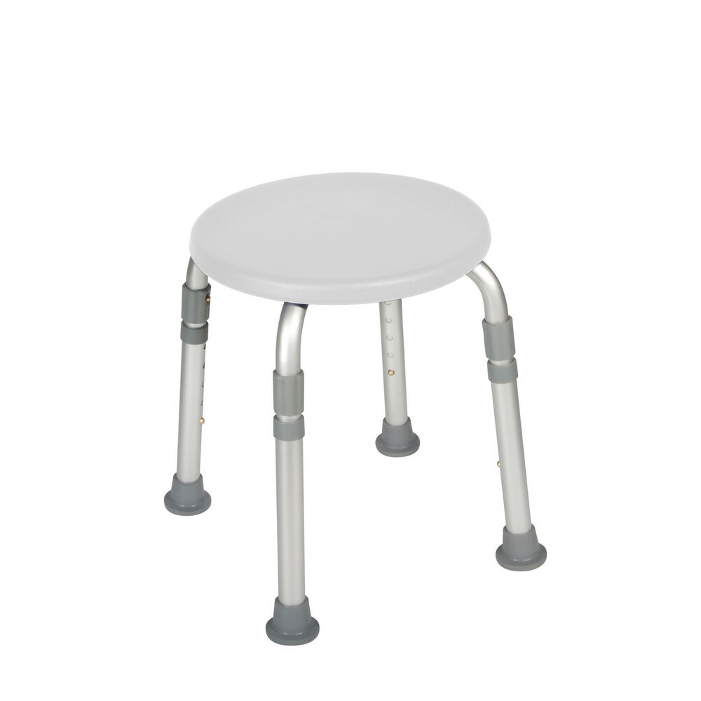 Height Adjustable Round Shower Stool Seat Chair Medical Bath Bench Bathtub White Ebay