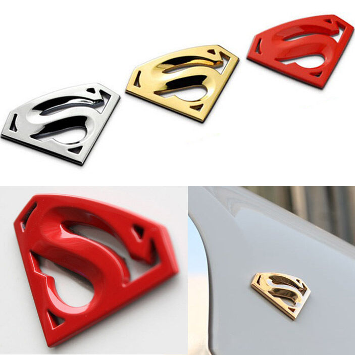 superman auto motorrad aufkleber 3d metall logo chrom emblem badge sticker decal ebay. Black Bedroom Furniture Sets. Home Design Ideas