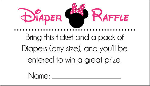 20 Diaper Raffle Tickets Hot Pink And Black Minnie Mouse