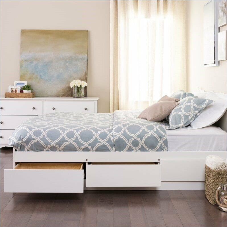 White Queen Platform Storage Bed Wood Storage Drawers Wood
