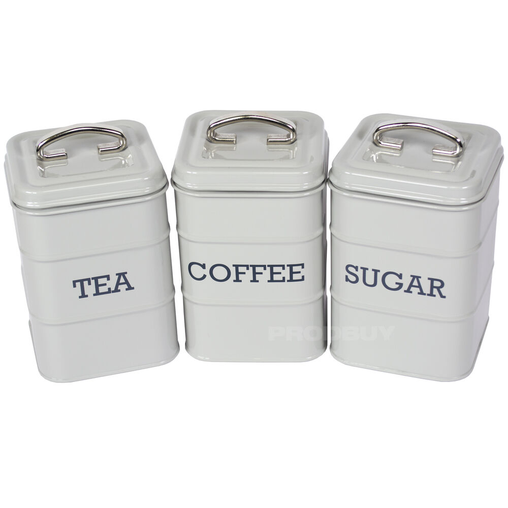 Cream Kitchen Storage Jars: Tea Coffee Sugar Canisters Vintage Grey Enamel Kitchen