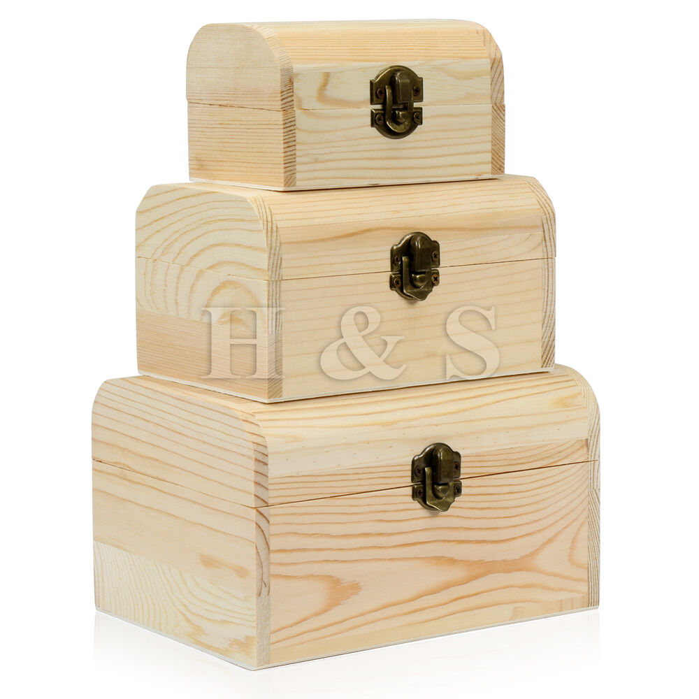 3x plain wooden pirate treasure chest wood jewellery. Black Bedroom Furniture Sets. Home Design Ideas