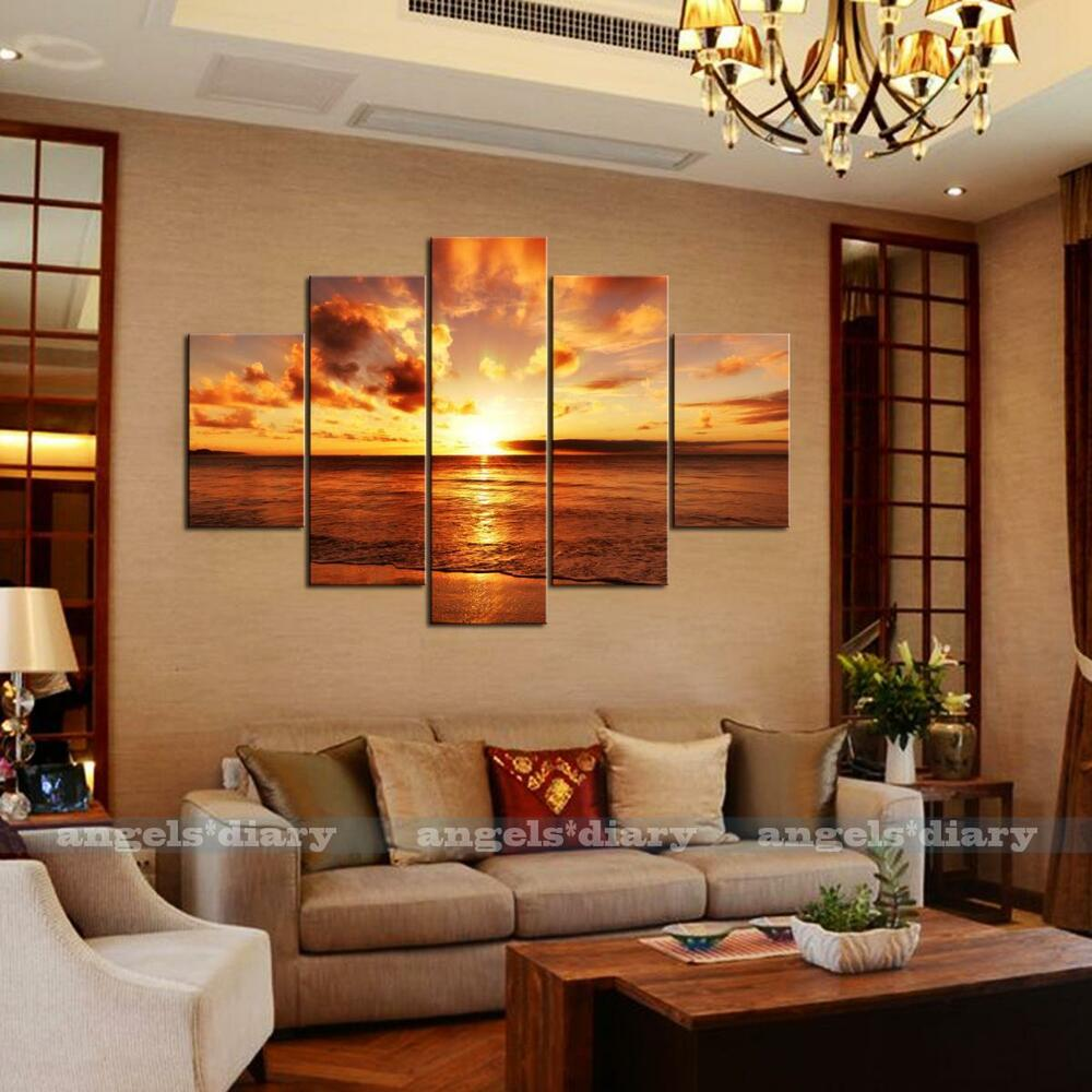 5pc set large seaside sunset unframed hd canvas print wall for Decoracion de interiores comedor