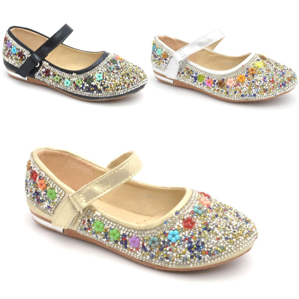kids wedding shoes childrens flat diamante shoes bridal 5311