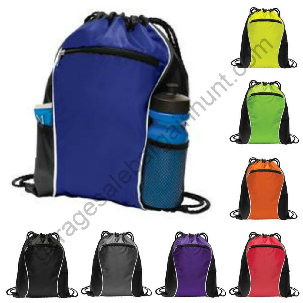 String Drawstring Backpack Cinch Sack Gym Tote Bag School Sport ...