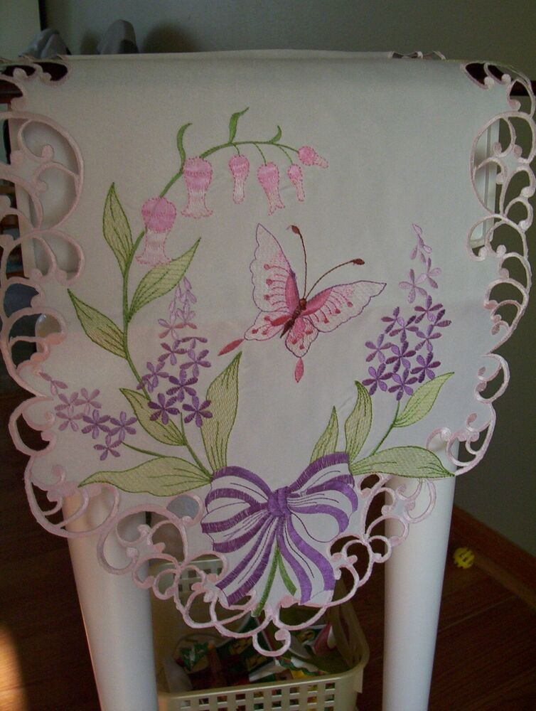 New Beautiful Butterfly amp Flowers Table Runner Dresser