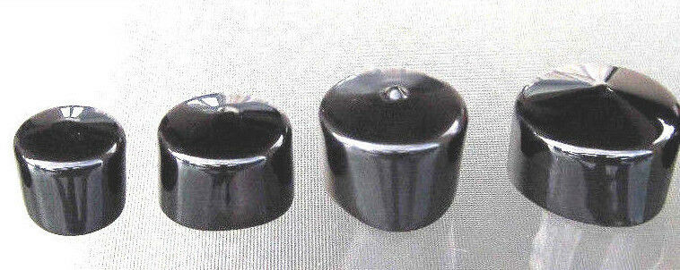Vinyl Round Pipe End Cap Cover Black Rubber Plastic Tube