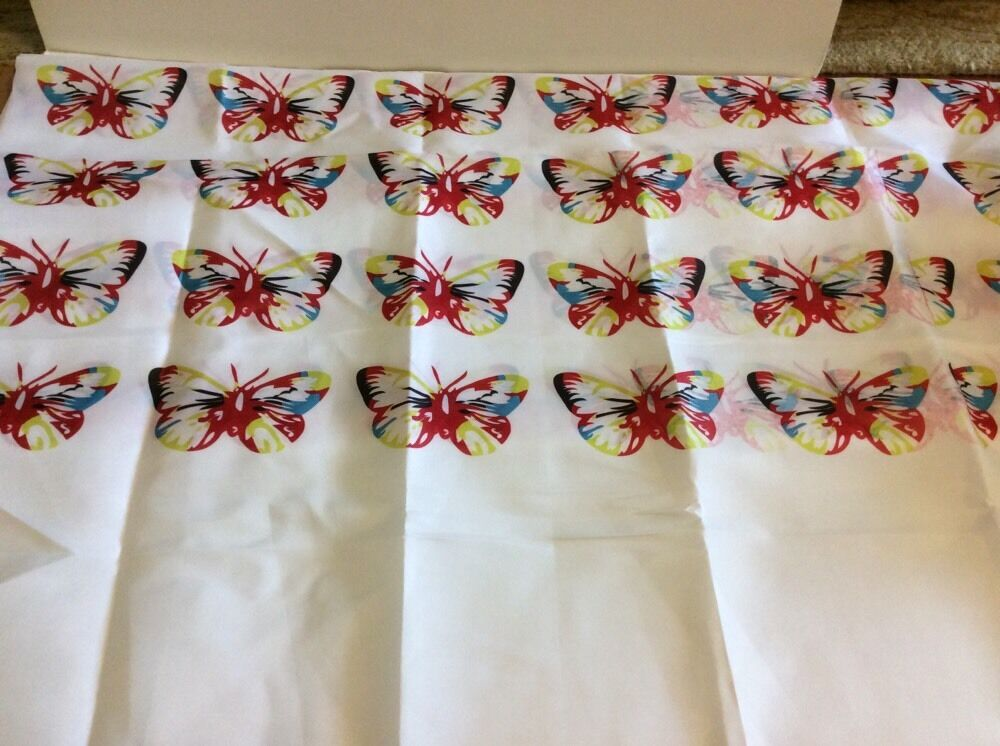 butterfly butterflies red teal lime green black white fabric shower curtain new ebay. Black Bedroom Furniture Sets. Home Design Ideas