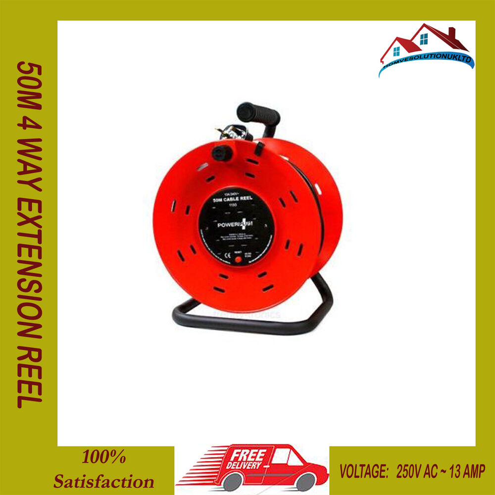 new 50m 4 way heavy duty cable 50 meter extension reel lead mains socket 13 amp ebay. Black Bedroom Furniture Sets. Home Design Ideas