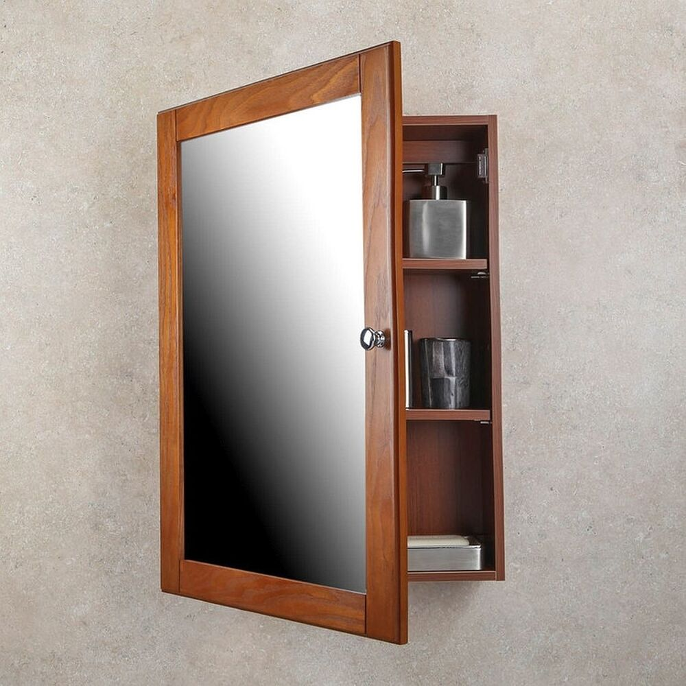 Medicine Cabinet Oak Finish Single Framed Mirror Door