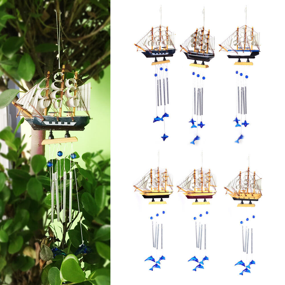 4 tube boat blue dolphin church wind chimes outdoor for Outdoor hanging ornaments