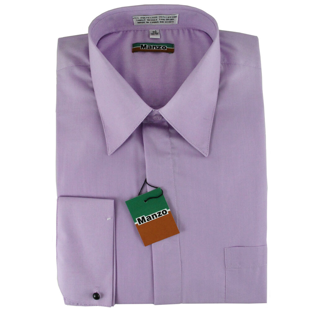 new lilac cover button french cuff men 39 s dress shirt long